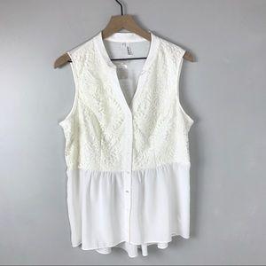 Studio Y lace flowy tank top women's XL